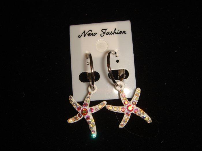 White Star Fish Earrings