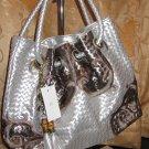 Lady Handbag( #6068B Silver & Light Brown Colour)$69.99