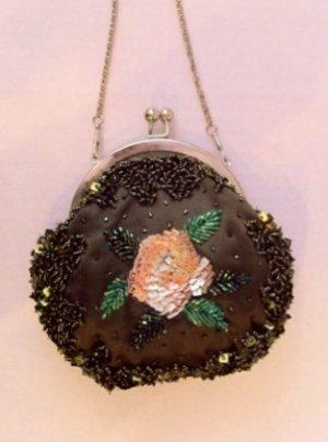 Brown Beaded Victorian Evening Bag $49.99 #EV40