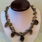 Mauve freshwater pearl necklace with brown crystals $59.99 # FWMN