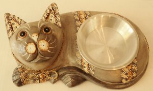 Large Light Grey Cat Dish $36.99 #23807