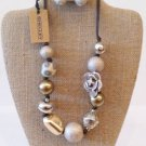 dark brown cord contemporary necklace/earring set $34.99 #5705