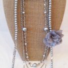 Mulit-Strand Faux Pearl and chiffon flower necklace/earring set $39.99 #5114