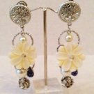 Faux mother of pearl flower hanging clip-on earrings $29.99 #3115