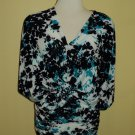 Turquoise and Black floral stretch tunic $59.99 #9011-4