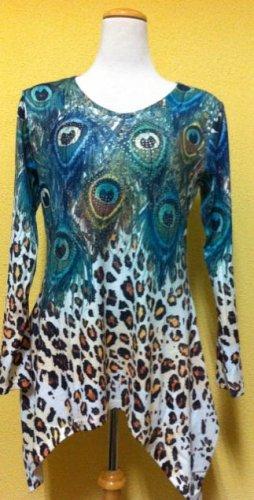 Peacock/Cheetah print long sleeve sweater $69.99#T1688-2