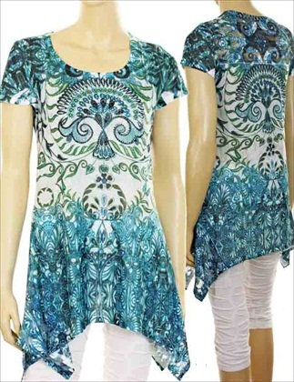 Long Teal Top with beads XXL $29.99 #TOP120-87