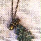 Green, Metal Oak leaf and Acorn necklace $29.99 #138N502G