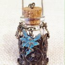 Blue Metal Fairy Charm necklace w/glass bottle $29.99 #131N405AB