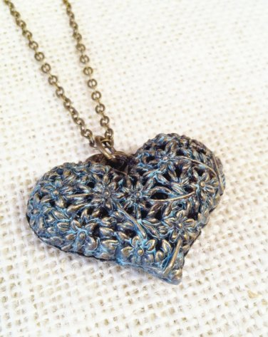 Blue, metal filigree heart pedant with necklace $29.99 #131N348BL