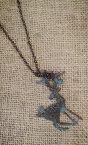 Blue, metal reindeer pendant with necklace $24.99 #138N611BL