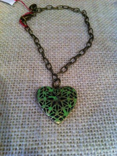 Green, metal heart locket bracelet $24.99 #131B395G