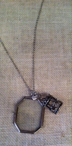 silver metal framed glass window locket with carousel charm $29.99 #J011AS