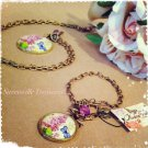 """Modern Vintage"" Butterfly/Lilac medallion necklace $24.99 #MV1036"