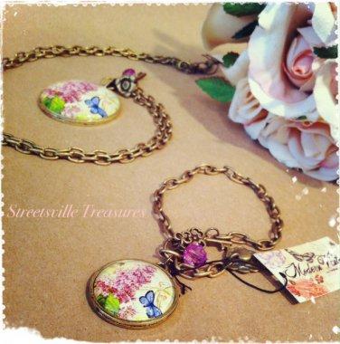 """""""Modern Vintage"""" Butterfly/Lilac medallion necklace $24.99 #MV1036"""