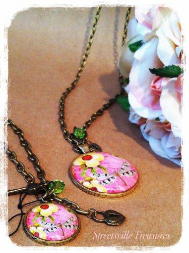 """Modern Vintage"" Dragonfly/ medallion necklace $24.99 #MV1036"