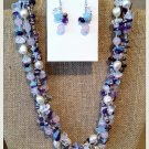 Freshwater Pearl and Amethyst necklace and earring set $69.99 #F076B