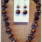 Tigers eye and freshwater pearl necklace and earring set $59.99 #NF032B