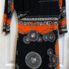Orange & Black Acanthus leaf/Roman print wrap dress $49.99 #P1311
