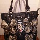 Betty Boop Handbag w/Bow Details $69.99 #BBFL-004BLK