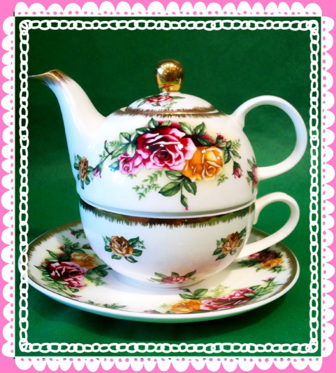 Tea for 1 Pink Roses $29.99 #s2297-140p