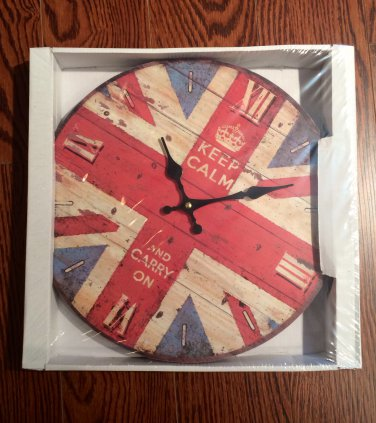 """""""Keep calm and carry on"""" clock $29.99 #03105"""