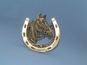 VINTAGE ENGLISH BRASS HORSE & SHOE DOORKNOCKER 1930s. #1p