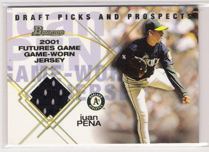 2001 BOWMAN PRO PICKS FUTURE RELICS JUAN PENA A'S GAME-WORN JERSEY CARD
