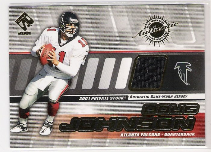 2001 PACIFIC PRIVATE STOCK DOUG JOHNSON FALCONS GAME WORN JERSEY CARD