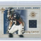 2002 PACIFIC PRIVATE STOCK TONY CARTER BRONCOS GAME-WORN JERSEY CARD