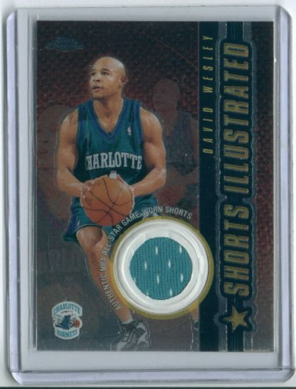 2002 TOPPS CHROME SHORTS ILLUSTRATED DAVID WESLEY HORNETS GAME WORN SHORTS CARD