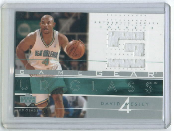 2002-03 UD GLASS GAME GEAR DAVID WESLEY HORNETS GAME-USED JERSEY CARD