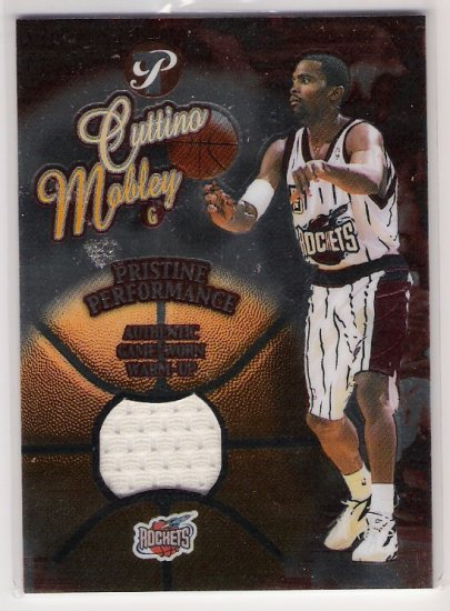 2002-03 TOPPS PRISTINE PERFORMANCE CUTTINO MOBLEY GAME ROCKETS WORN WARM UP CARD