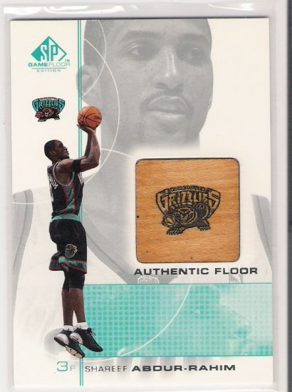 2001 SP GAME FLOOR SHAREEF ABDUR-RAHIM GRIZZLIES AUTHENTIC FLOOR CARD