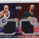2003-04 UD HONOR ROLL ALL NBA AUTHENTICS MIKE BIBBY/RICHARD JEFFERSON DUAL WARM UPS CARD