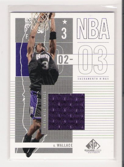 2002-03 UD SP GAME USED GERALD WALLACE KINGS GAME-USED JERSEY CARD
