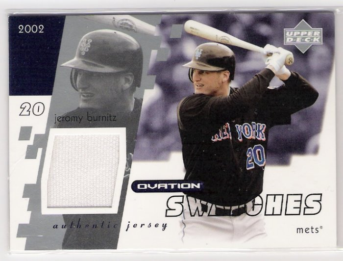 2002 UD OVATION SWATCHES JEROMY BURNITZ METS GAME-USED JERSEY CARD