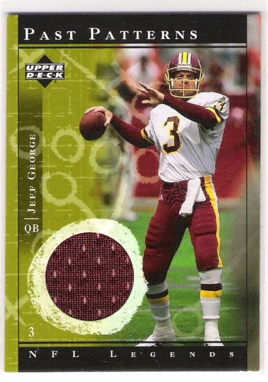 2001 UD NFL LEGENDS PAST PATTERNS JEFF GEORGE GAME-USED JERSEY CARD