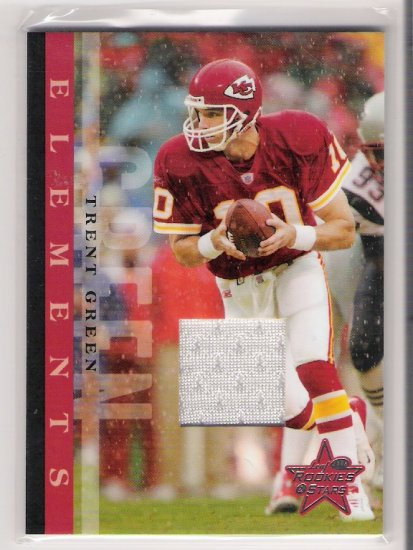 2005 LEAF ROOKIES & STARS TRENT GREEN CHIEFS ELEMENTS GAME-WORN JERSEY CARD