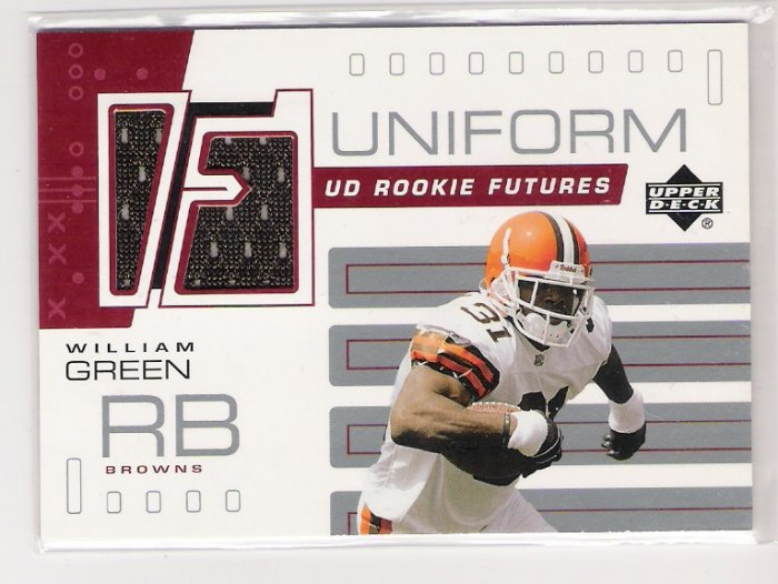 2002 UD ROOKIE FUTURES WILLIAM GREEN BROWNS JERSEY CARD