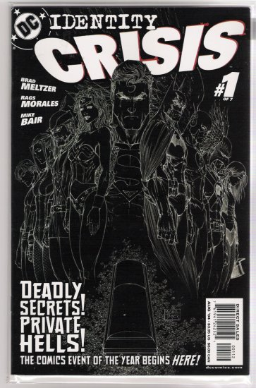 IDENTITY CRISIS #1 MICHAEL TURNER REVERSE NEGATIVE COVER-NEVER READ!