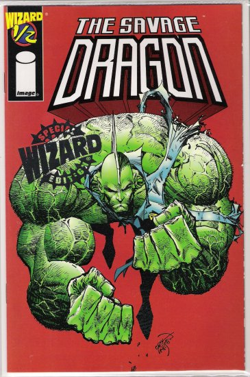 THE SAVAGE DRAGON 1/2 RARE SILVER  FOIL EDITION BY WIZARD/IMAGE W/COA-NEVER READ