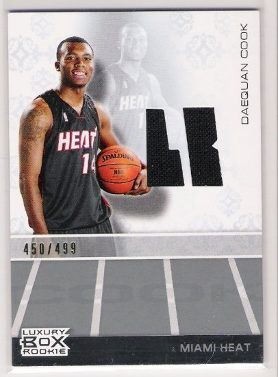 2007-08 TOPPS LUXURY BOX DAEQUAN COOK HEAT ROOKIE RELIC JERSEY CARD