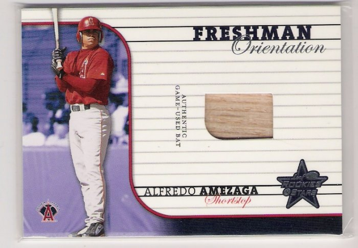 2002 LEAF ROOKIES & STARS ALFREDO AMEZAGA FRESHMAN ORIENTATION GAME-USED BAT CARD