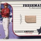 2002 LEAF ROOKIES & STARS ALFREDO AMEZAGA FRESHMAN ORIENTATION GAME-USED BAT CARD