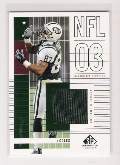 2003 SP GAME USED LAVERNEOUS COLES AUTHENTIC JERSEY CARD