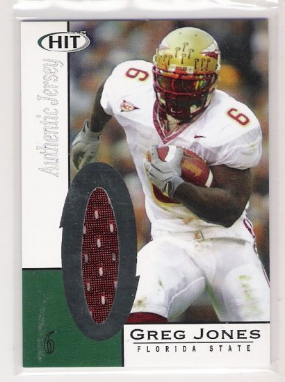 2006 SAGE HIT GREG JONES FLORIDA STATE AUTHENTIC JERSEY CARD