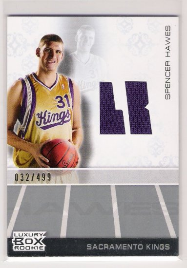 2007-08 TOPPS SPENCER HAWES KINGS LUXURY BOX ROOKIE JERSEY CARD
