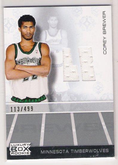 2008-07 TOPPS LUXURY BOX COREY BREWER TIMEBERWOLVES ROOKIE RELIC JERSEY CARD