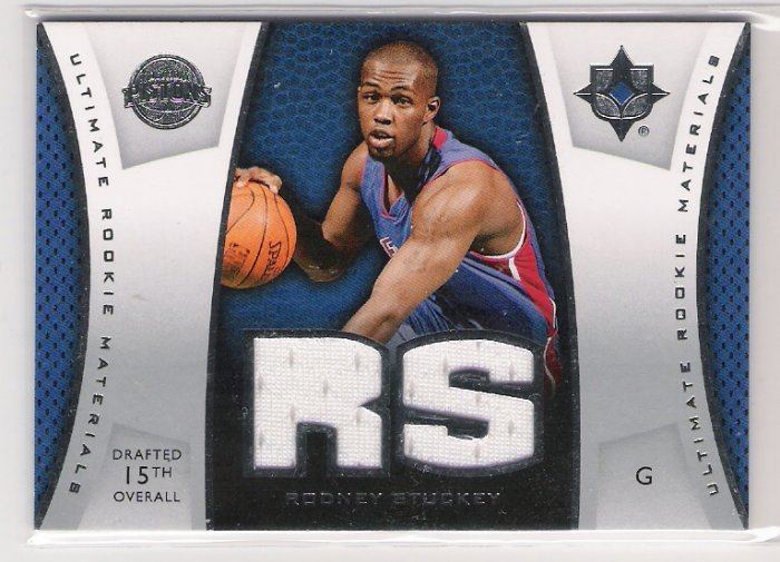 2007-08 UD NBA ULTIMATE COLLECTION RODNEY STUCKEY PISTONS ULTIMATE ROOKIE MATERIALS JERSEY CARD